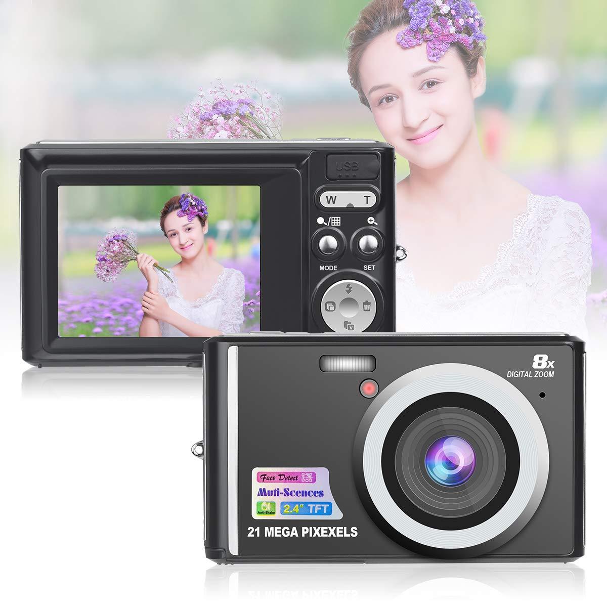 HD Mini Digital Cameras,21MP Point and Shoot Digital Video Cameras-Travel,Camping,Gifts (Black 1) by Suntak