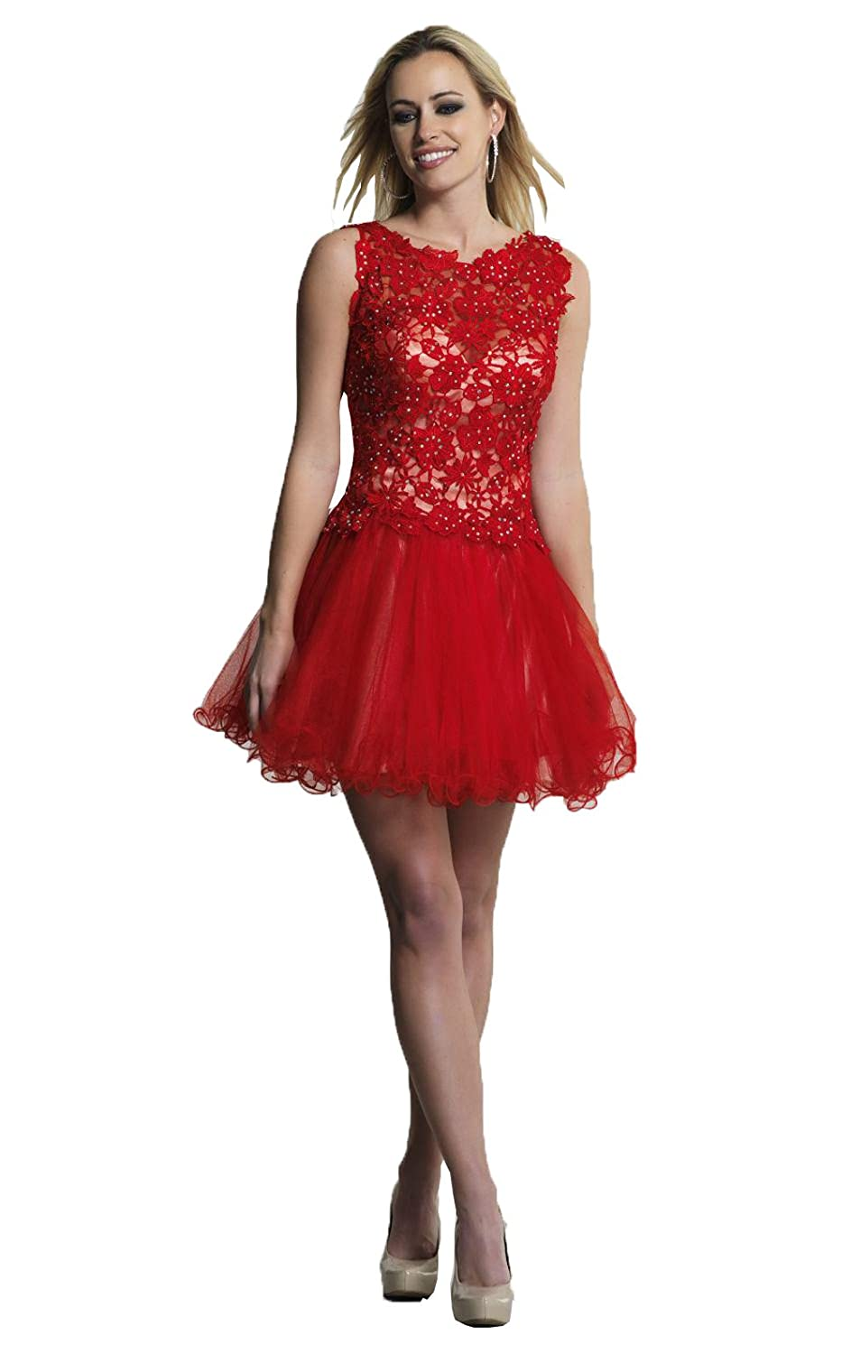 Felaladress Red Charming Lace Appliques Sparkly Backless Homecoming Dresses