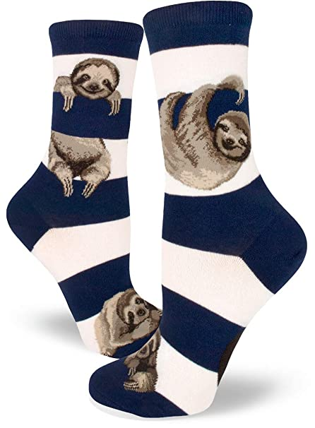 ed7967a6e7bc9 Amazon.com: ModSocks Women's Sloth Stripe Crew Socks in Navy (Fits Most  Women Shoe Size 6-10): Clothing