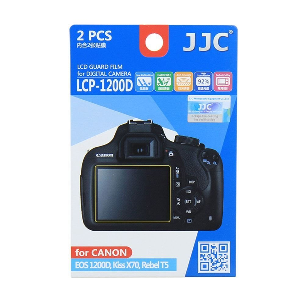 Jjc Lcp 1200d Ultra Hrad Polycarbonate Lcd Film Screen Protector For Canon Eos Rebel T5 1200d X70 2pk