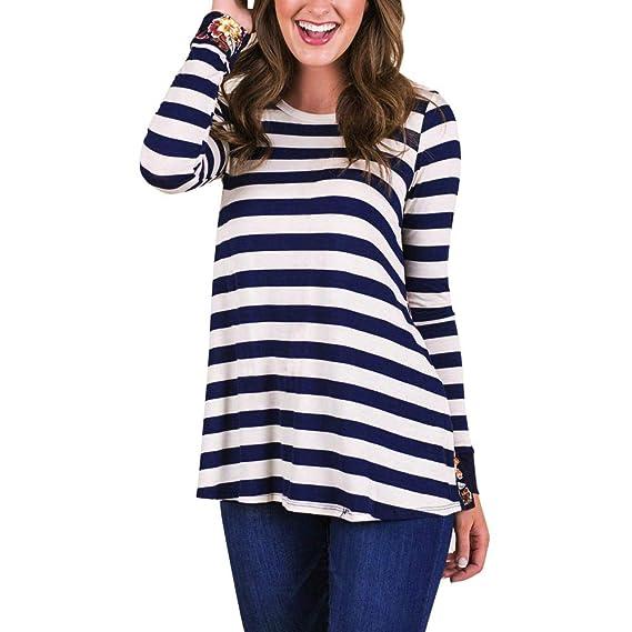 BBestseller Blusas del Remiendo de la impresión de Rayas del otoño de Las Mujeres Camisetas sin