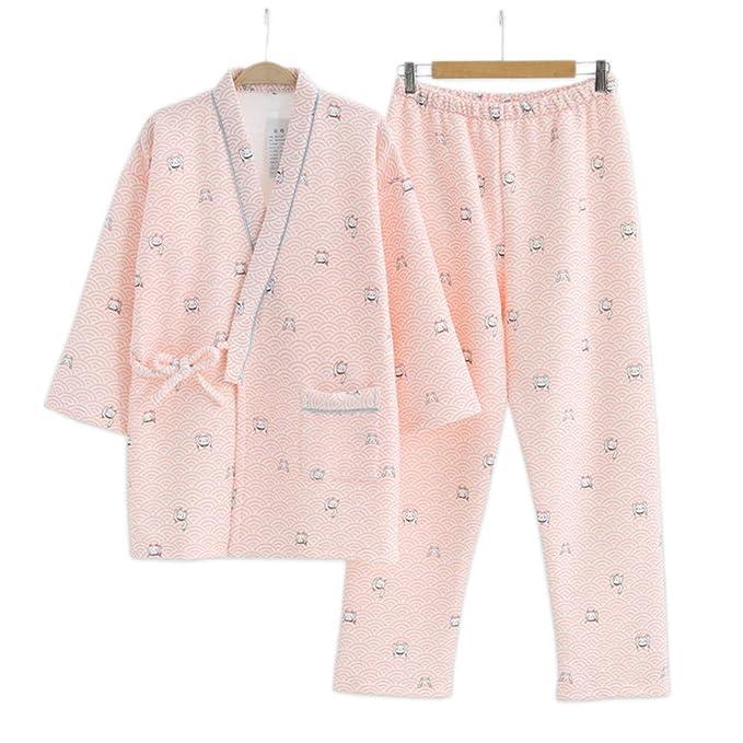 JYHTG Gatos Lindos Imprimir Kimono Mujeres Pijamas para Dormir Japonés Fresco Espesar Algodón 100% Ola Caliente Túnicas Mujeres Pijama Conjuntos Dormir ...