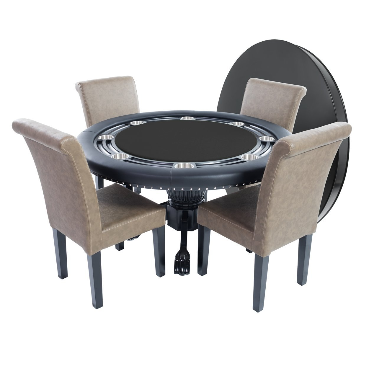 BBO Poker Nighthawk Poker Table for 8 Players with Black Speed Cloth Playing Surface, 55-Inch Round, Includes Matching Dining Top with 4 Lounge Chairs by BBO Poker