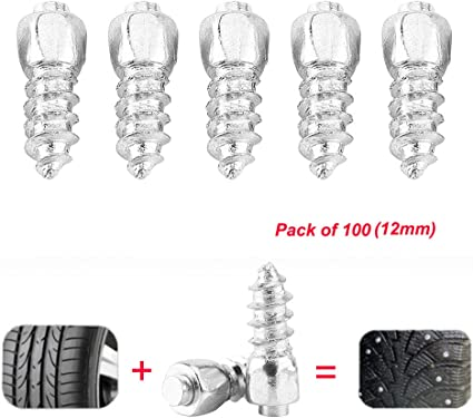 100Pcs Tire Stud Screw Anti-Slip Snow Tire Studs Wheel Tyre Tire Spikes Trim Screw in Tire Stud for Car Truck Bike Boot Motorcycle