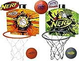 Nerf N-Sports Nerfoop Basketball Hoop Orange/Black, Green/Grey & Exclusive Matty's Toy Stop 4.25' Vinyl Basketball Gift Set Bundle - 3 Pack