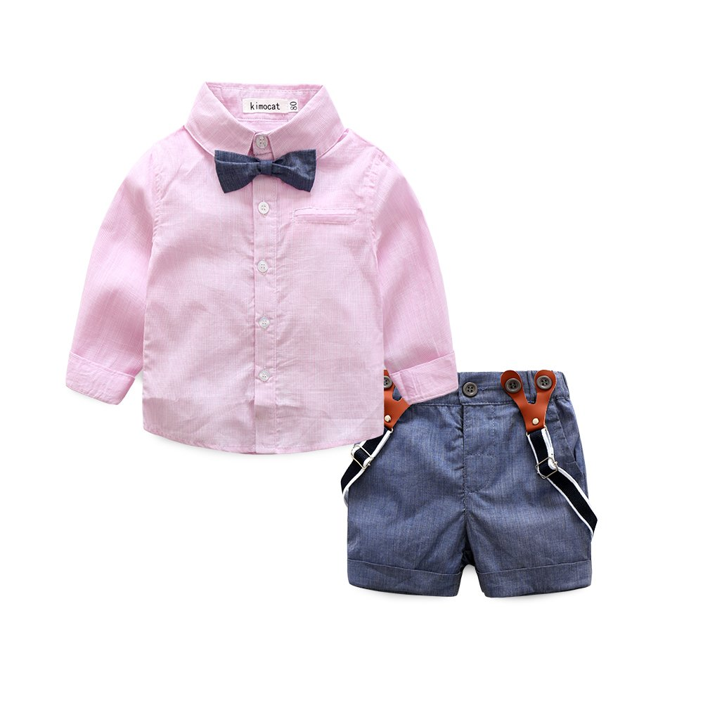 Baby Boy Shirt and Tie Sets Long Sleeve Woven Top+ Bowknot+ Shorts with Suspender Straps Outfits (12-18month, Pink)