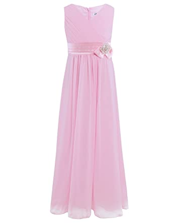 iiniim Junior V Neck Chiffon Flower Girl Summer Princess Wedding Dance Prom Gown Party Dress Pink