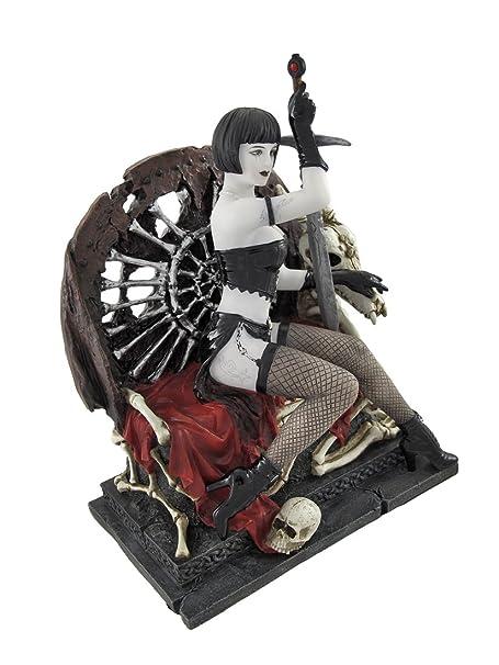 Gothic Lady Guerrero con espada de calavera y Bone trono Estatua ...