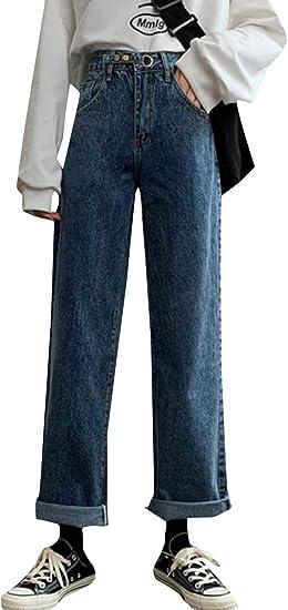 [MLboss]ジーンズ レディース デニムパンツ ゆったり ハイウエスト ワイドパンツ デニム Gパン ファッション 着痩せ ストレートパンツ オシャレ シンプル ジーパン