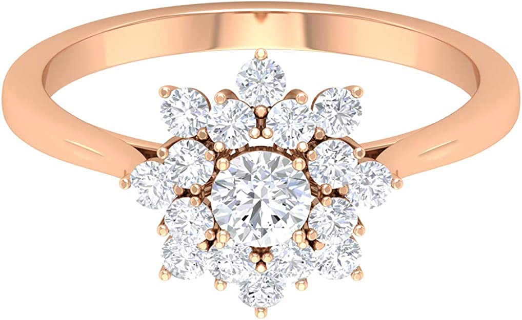 T.W 19 Round Cut D//VVS1 Diamond Rose Pendant For Womens /& Girls In Solid 10K Rose Gold Plated 3//4 CT
