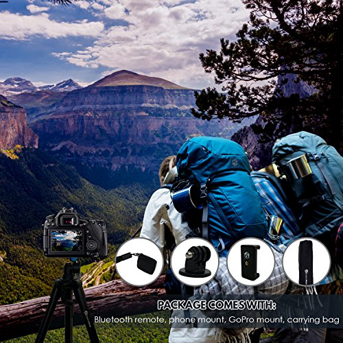 Lightweight Travel Tripod 48 Inch | Bluetooth Remote, Phone Mount, GoPro Mount, Carrying Bag | Premium Aluminum | Digital Camera, Android, DSLR, iPhone X, 8, 7, 6 Plus, Samsung Galaxy | Photo, Video by Explore More Creative Co. (Image #5)