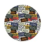 iPrint Polyester Round Tablecloth,USA,Retro American Auto License Plates Utah Washington Rhode Island North Carolina Print,Multicolor,Dining Room Kitchen Picnic Table Cloth Cover Outdoor Indoor