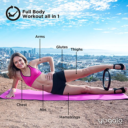 Pilates Ring Toning, Sculpting, Strength and Flexibility, Power Resistance Exercise Circle, Thigh Toner, Fitness Magic Circle, 14 Inch Dual Grip Ring by Yogalo Pilates Series