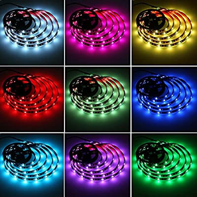 aijiaer Battery Powered Led Strip Lights, 5050 2M/6.6FT, Waterproof Flexible Color Changing RGB LED Light Strip, 60 LEDs 5V Battery-powered with RF Controller