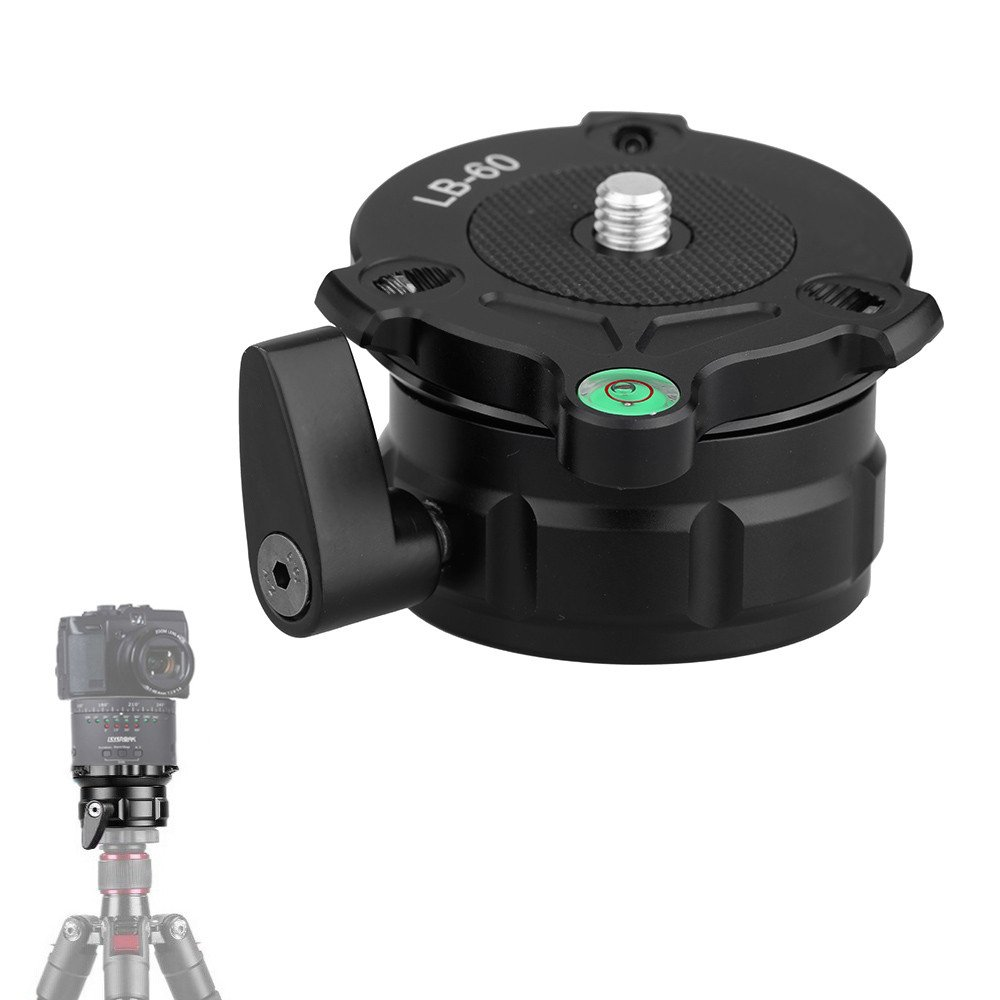 KINGJOY LB-60 69mm Speedy Adjustable Leveling Base Panning Level with Offset Bubble Level for All Tripods with 1/4