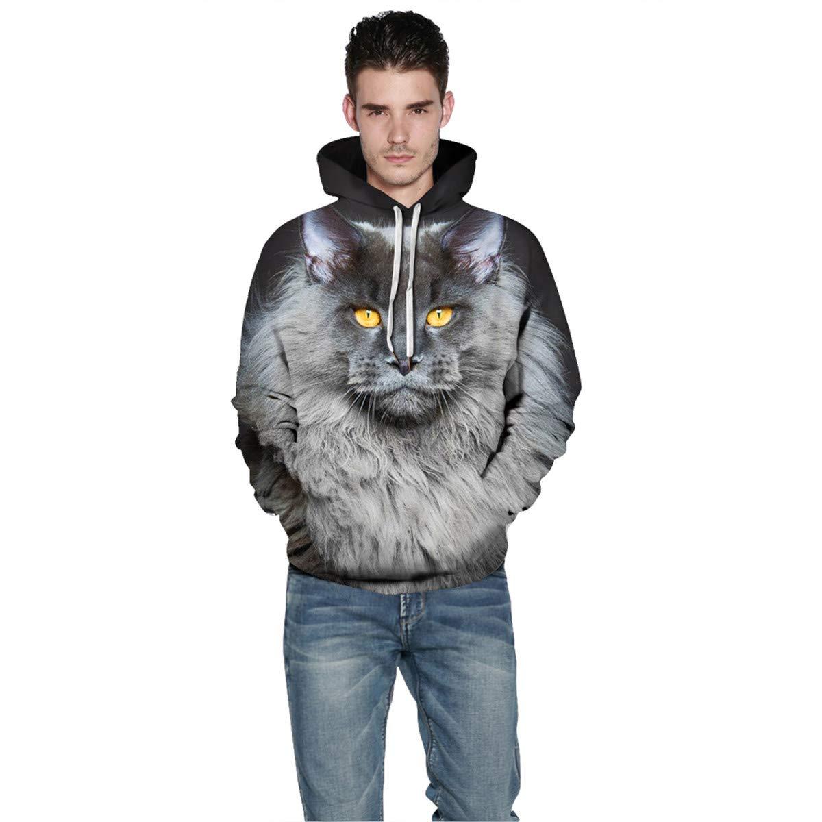 Mens Hooded Long Sleeve 3D Digital Print Cat Heads Couple Pullover Hoodies Fashion Hoodies Baseball Outwear