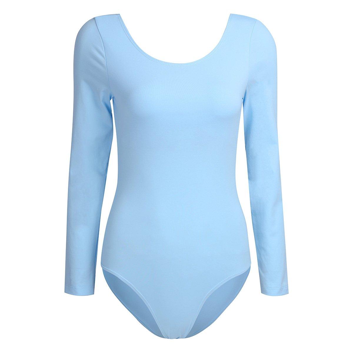 iixpin Justaucorps Gymnastique Classique Femme à Manches Longues Teddy Bodysuit de Danse Danseur Dancewear Gym Taille XS-XL