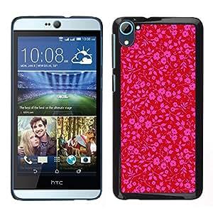LECELL--Funda protectora / Cubierta / Piel For HTC Desire D826 -- rosa patrón de papel tapiz floral rojo púrpura --