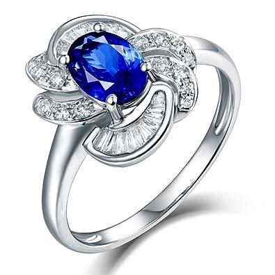 b14e89609 Amazon.com: Beauty Lover Women Rings 14kt White Gold Natural Diamond  Wedding Oval Shape 5x7mm Tanzanite: Jewelry