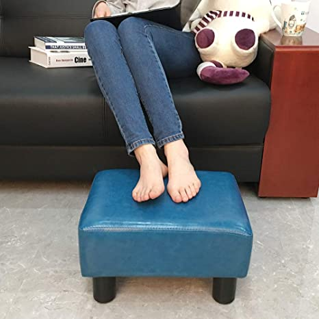 Outstanding Scriptract Footstool Footrest Pu Leather Modern Seat Chair Small Ottoman Stool Teal Machost Co Dining Chair Design Ideas Machostcouk