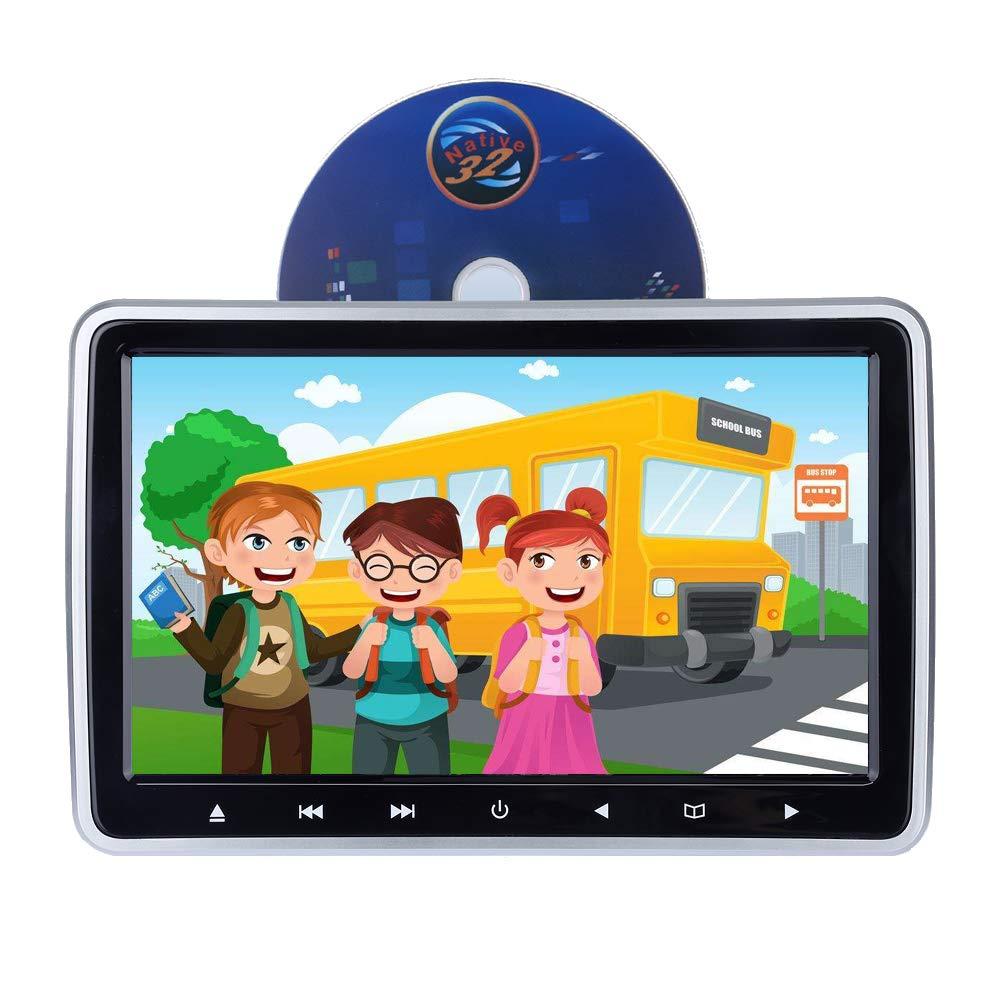 Car Headrest Slot-in DVD Player Monitor,10.1 Inch HD 1024 x 600 HDMI USB SD IR/FM Ultra Thin Digital LCD Screen by Hengweili