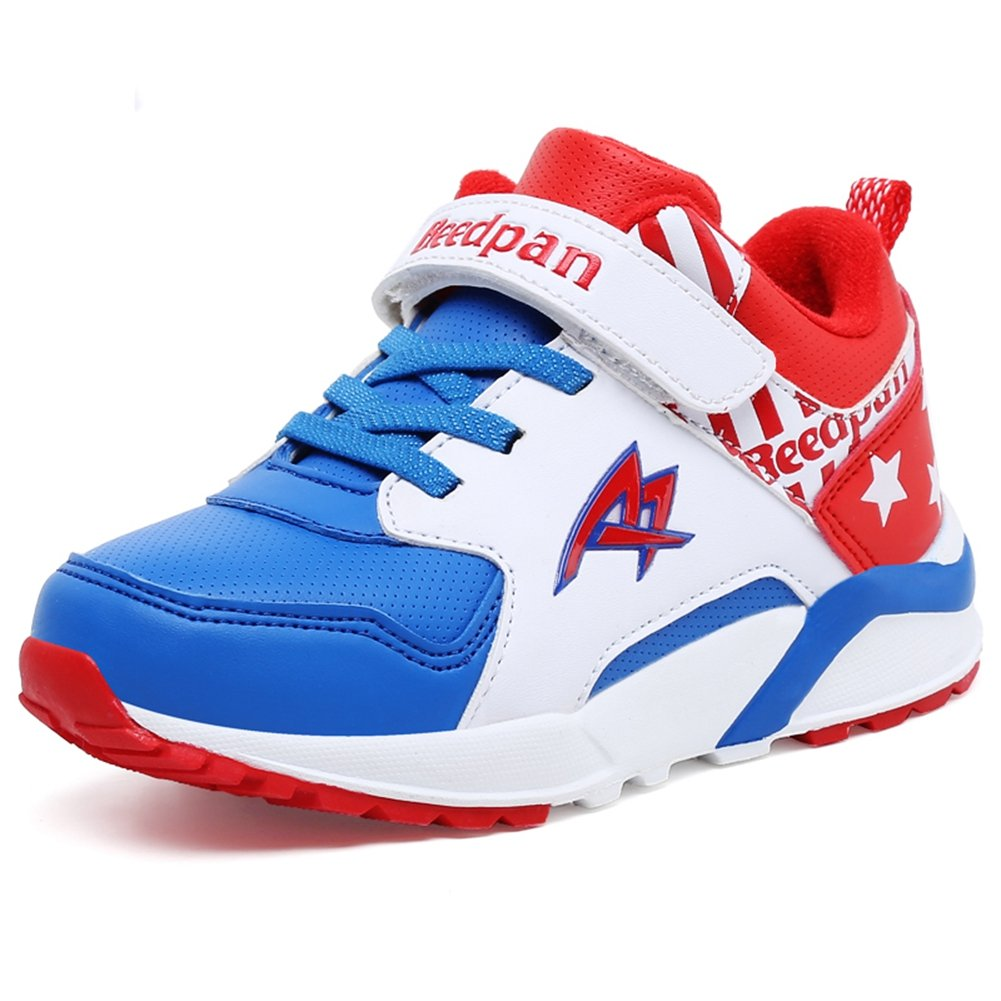 U-MAC Boys Damping Tennis Sneakers Breathable Vercro Anti-Slip Running Shoes (Little Kid/Big Kid)