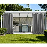 cololeaf Outdoor Curtains For Patio Extra Wide Waterpoof Solid Tab Top UV Ray Protected For Patio Porch Gazebo Pergola Cabana dock beach home - Grey 150W x 96L Inch (1 Panel)