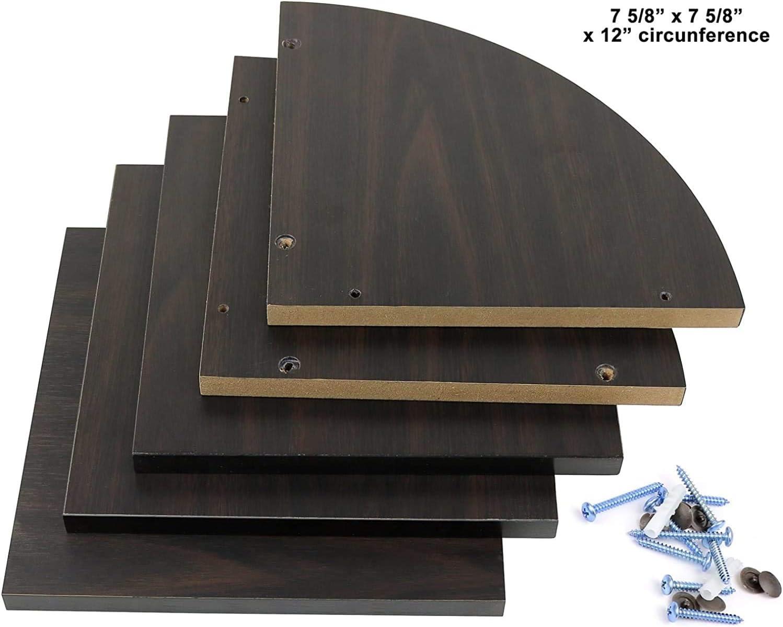Espresso. Espresso Greenco Zigzag 2 Tier Corner Floating Shelves