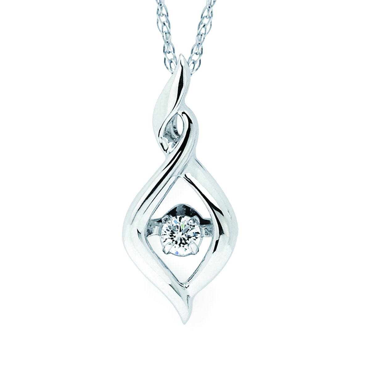 925 Sterling Silver .08 Cttw. Dancing Diamond Pendant Necklace with 18'' Chain