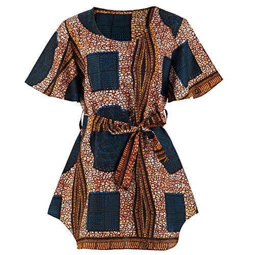 Candow Look Women's Round Neck African Wax Batik Printed Cotton Tunic (Batik Printed)