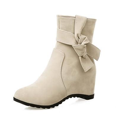 Women's Kitten-Heels Solid Round Closed Toe Frosted Zipper Boots Beige 33