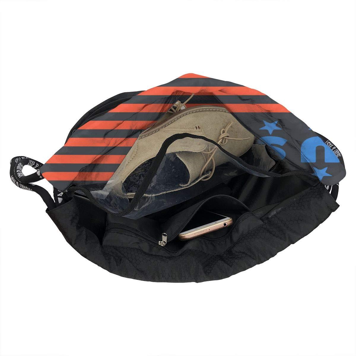 USA Flag 4th July Men /& Women Drawstring Backpack Beam Mouth Sports Sackpack Shoulder Bags