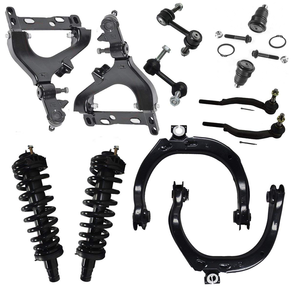 Upper Lower Control Arm w//Ball Joint Sway Bar and Outer Tie Rod Kit for 2002 Chevy Trailblazer EXT GMC Envoy XL Olds Bravada- Models with 14mm Tie Rod Threads ONLY Detroit Axle 12pc Front Strut