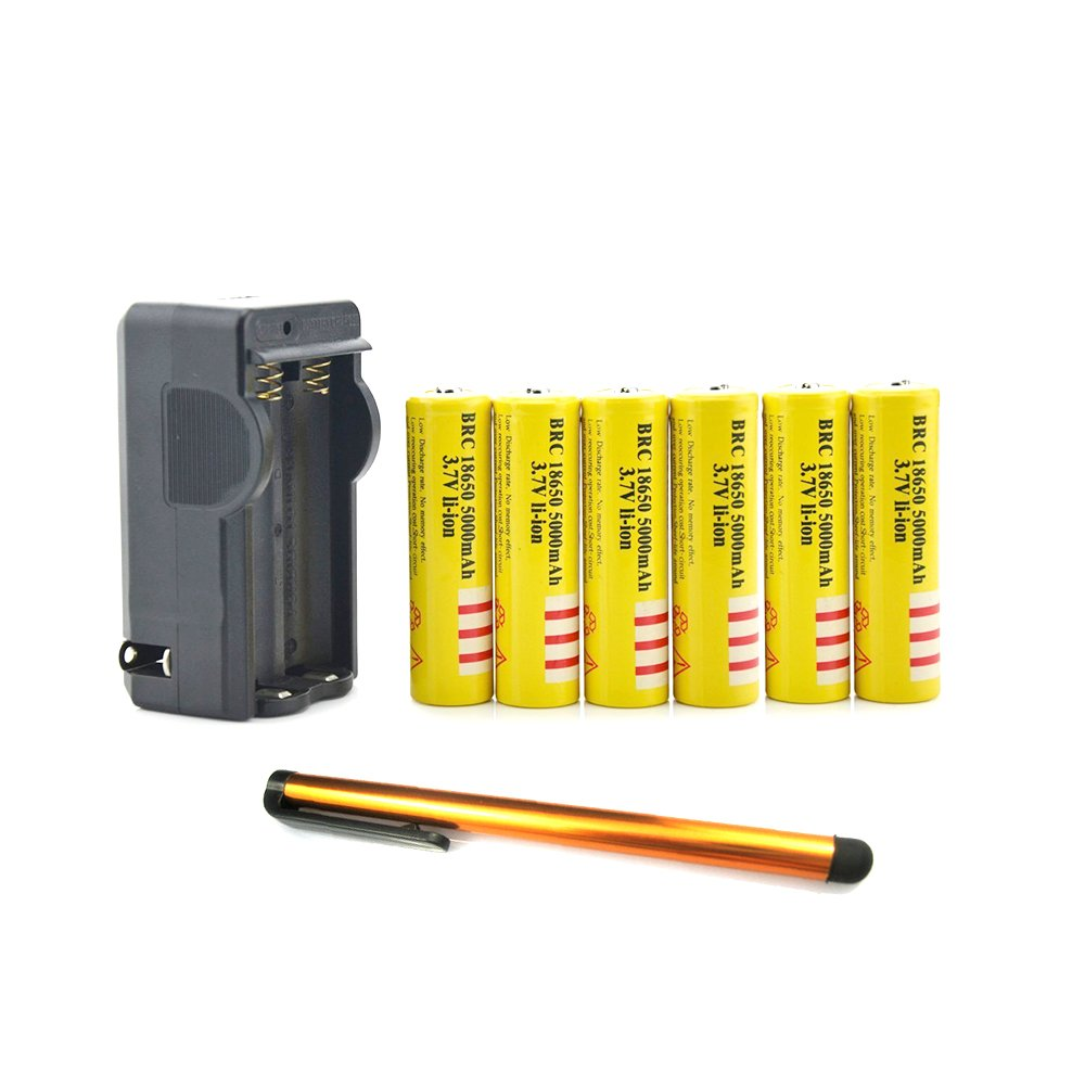 ON THE WAY®6Pcs 3.7V 18650 5000mAh Li-ion Protected Rechargeable Battery w/ 18650 Charger and Touch Stylus Pen for Flashlight and Other Electronic Products