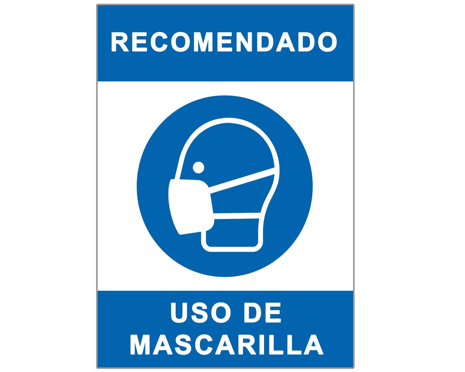 Señal Covid-19 | Cartel Uso de Mascarilla para Establecimientos y Lugares Públicos | Señalización Coronavirus Autoinstalable y Resistente al Intemperie | 21 x 30 cm | Descuentos por Cantidad