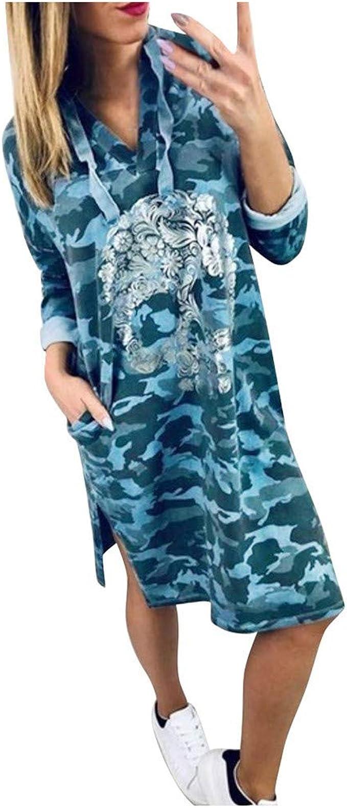 Realde Vestito Elegante Donna Manica Lunga Scollo a V