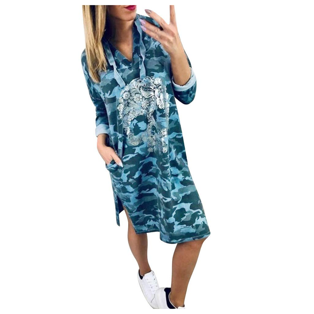 Shusuen Women Bohemian Neck Tie Vintage Camouflage Printed Hoodie Dress with Pocket Sexy Split Tunics by Shusuen_Clothes