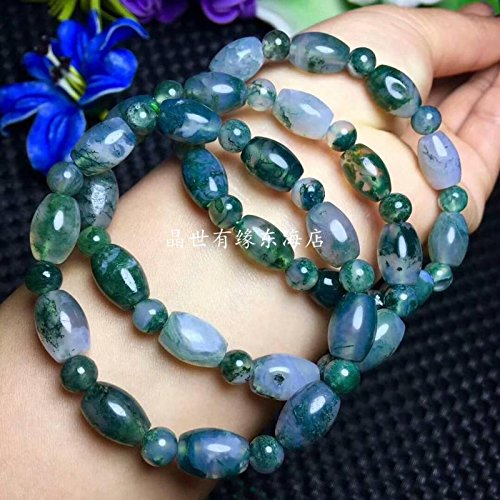 Natural aquatic moss agate barrel bead bracelets bracelet agate chalcedony crystal bracelets transfer beads male and women girls bis Generic
