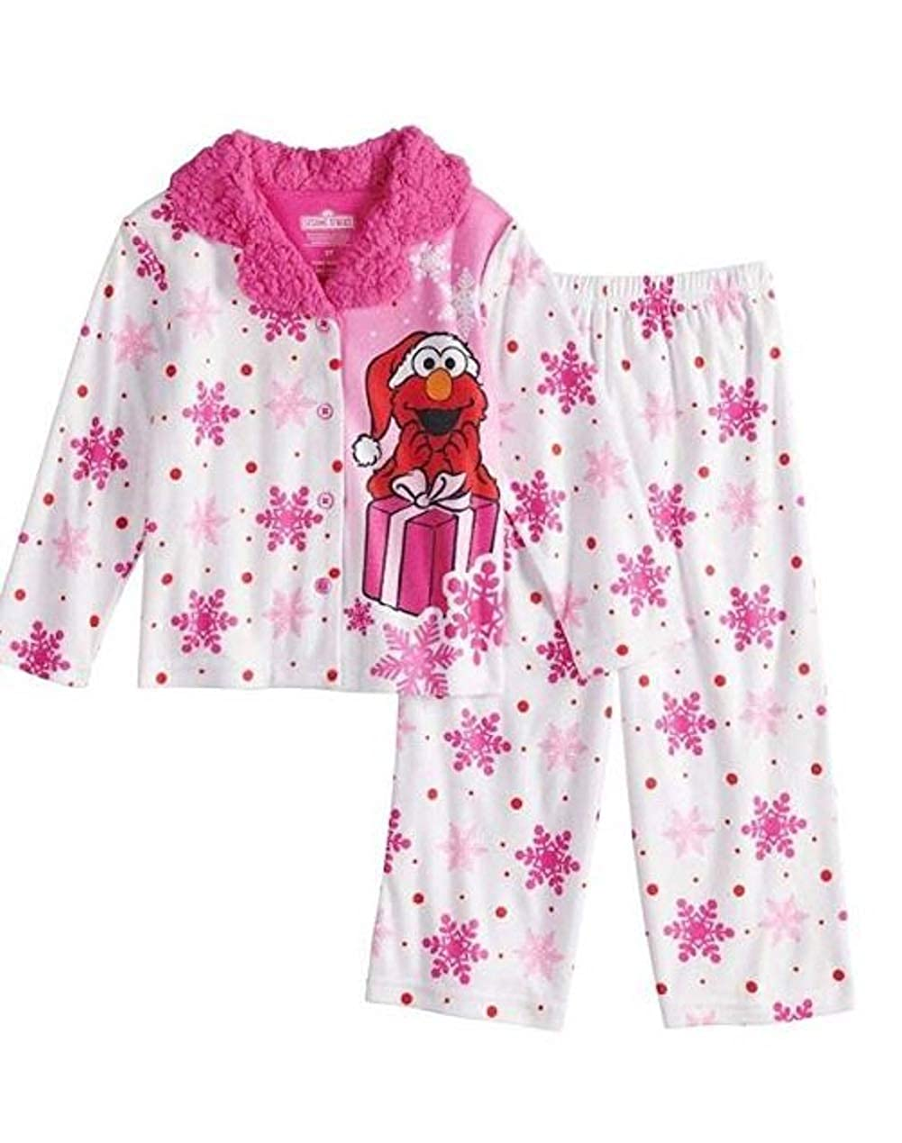 Sesame Street Toddler Girl Elmo Christmas Top /& Bottoms Pajama Set