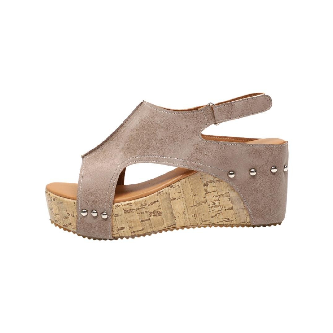 Women High Heel Leather Rivet Roman Platforms Wedges Shoes Sandals (7.5, Khaki)