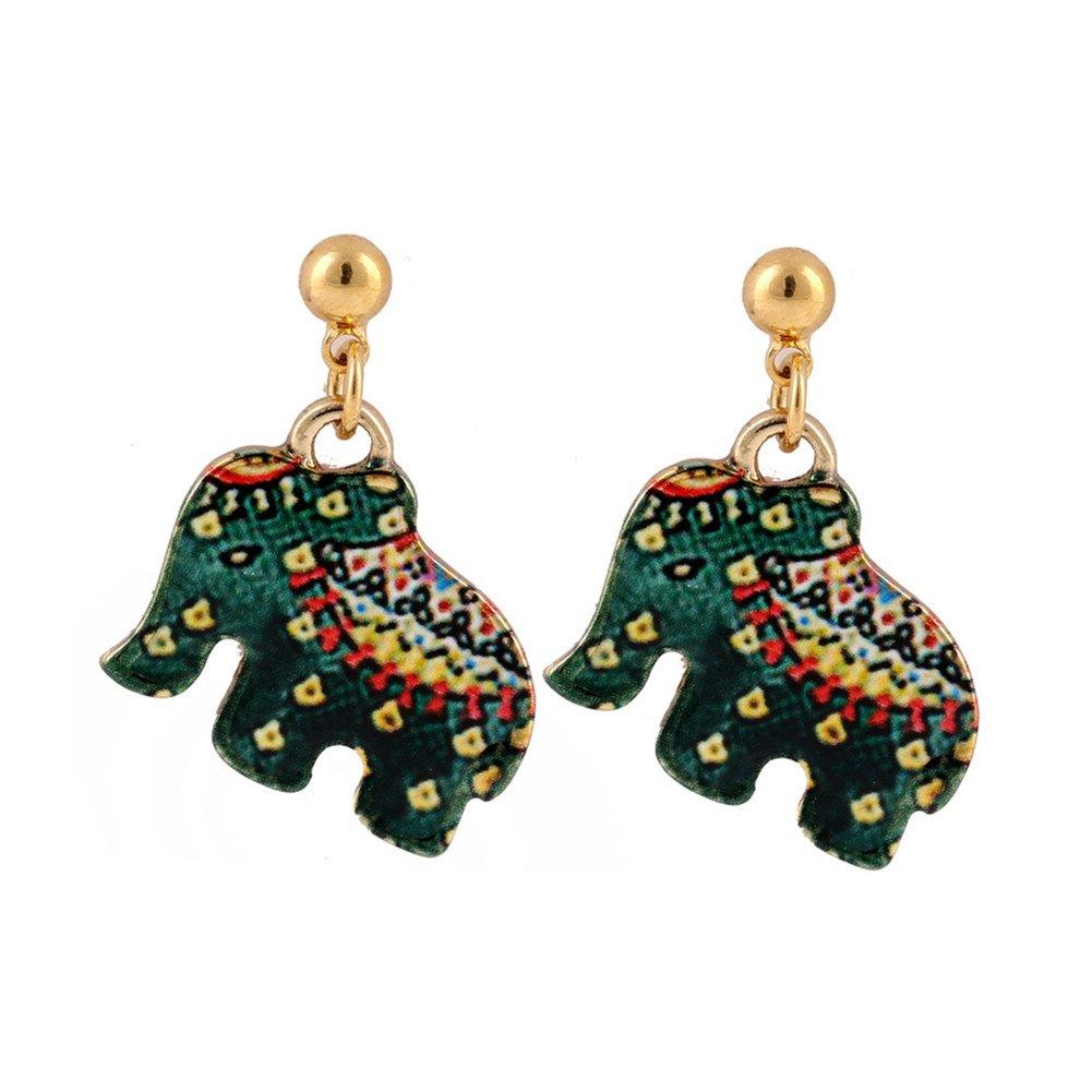 18K Gold Plated 3D Ethnic Green Elephant Charm Womens Stud Earrings XCFS B06ZZJMLDW_US