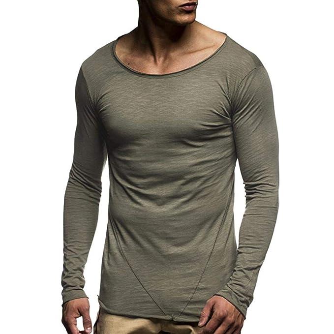 Yvelands Mens Fashion Muscle Manga Larga Camiseta O Cuello Slim Fit Patchwork Tops Blusa Camisas, Cheap liquidación!: Amazon.es: Ropa y accesorios