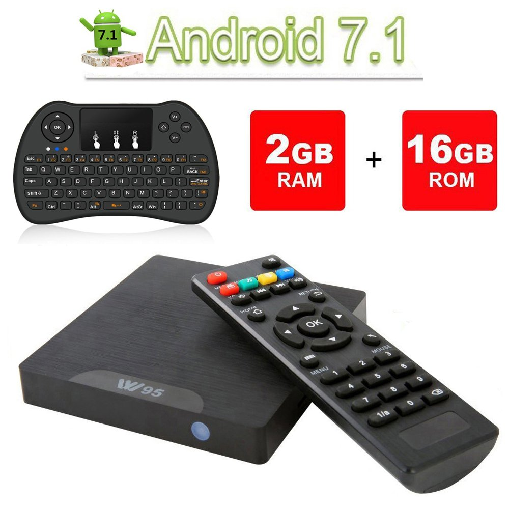 Android 7.1 Smart TV Box- VGROUND W95 Android TV Box con Cuatro Núcleos Amlogic S905W, 2 GB de RAM 16 GB ROM, 4K UHD, Wi-Fi Incorporado y LAN VP9 DLNA H.265