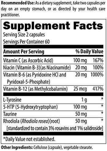Designs for Health CraveArrest - 1000mg L-Tyrosine + 100mg 5-HTP for Serotonin + Dopamine Support (120 Capsules) 4