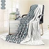 Digital Printing Blanket Effects Curved Persian Arabian Teal Summer Quilt Comforter
