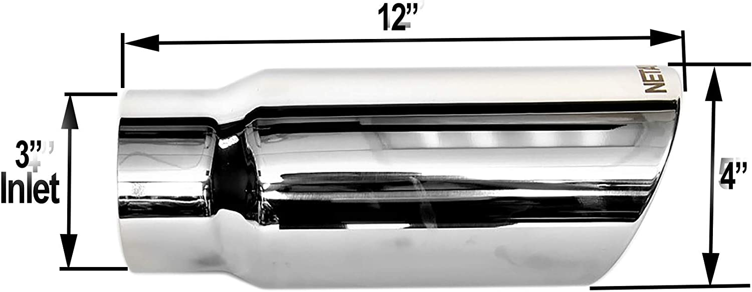 3 Inlet NETAMI 304012SS Mirror Polished T304 Stainless steel Diesel Exhaust Tip Rolled Edge Weld-on Inlet 3 Outlet 4 Overall Length 12