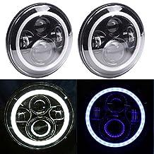 TRUCKMALL 7 Inches LED Headlights Bulbs SAE Approved 6000K White/Blue Halo Angel Eye Ring & DRL & Turn Signal Lights for Jeep Wrangler JK LJ CJ Hummer H1 H2 Harley Davidsion (Pack of 2)