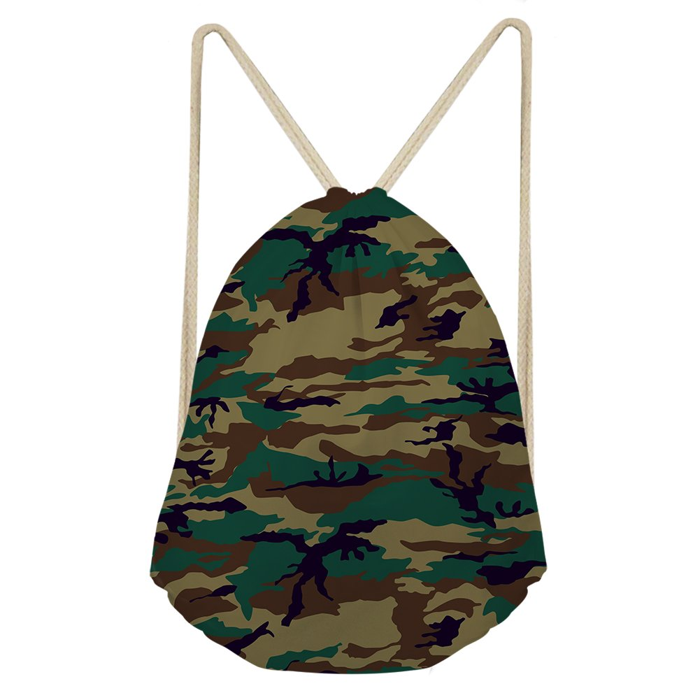 Camo Drawstring Backpack Sport Rucksack School Travel Hiking Shoulder Bags Colorful by Dellukee (Image #1)
