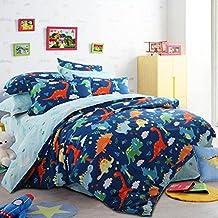 LELVA Cartoon Bedding Set Cotton Dinosaurs Bedding Duvet Cover Set Kids Bedding for Boys Blue (Twin, Fitted Sheet)