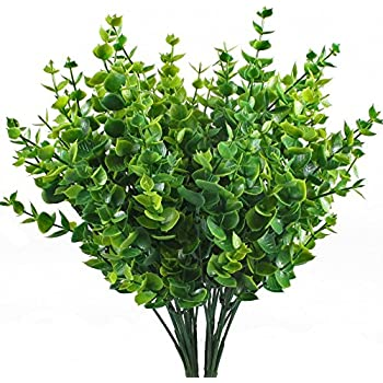 Artificial Shrubs, Hogado 4pcs Faux Plastic Eucalyptus Leaves Bushes Fake Simulation Greenery Plants Indoor Outside Home Garden Office Verandah Wedding Decor